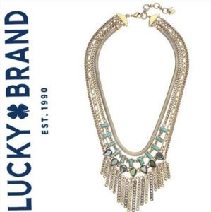 Lucky Gold-Tone Crystal & Stone Chain Necklace